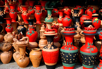 Colourful  pottery shop  on account of the Bijoy Mela.